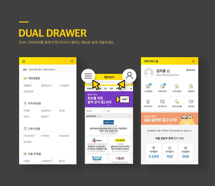DUAL DRAWER, DUAL DRAWER를 통해 언제 어디서나 원하는 메뉴로 쉽게 이동하세요.